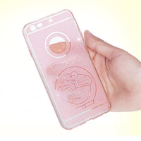 Wholesale Doraemon Case Cover Iphone - Soft TPU Rubber Gel Clear Crytal bling Cartoon Hello Kitty Doraemon Mickey Mouse Case Cover For iPhone 6 6S Plus 4.7 5.5 inch SE 5 5S 100pcs