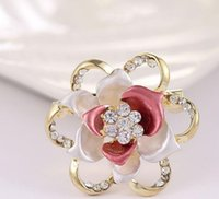 Wholesale Two Colour Wedding - Women's Vintage Jewelry Broocjes Gold Tone Bridal Wedding Crystal Rhinestone Flower GLAZE Brooch Pin Two Colour Options