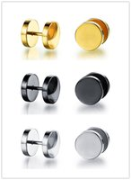 Wholesale Ear Plugs Tunnel Gold - 3 Pair A Set Cool Rock Mens Stainless Steel Barbell Piercing Earrings Cheater Fake Ear Plugs Gauges Illusion Tunnel Stud