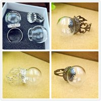 Wholesale Jewelry Findings Glass Vials - 20x15mm empty clear glass globe bottle ring finding set glass dome cover glass vial RING fashion jewelry rings,4 style choose