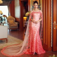 Wholesale Evening Shawls Tulle - Exclusive Designer Mermaid Crystal Shawl Dubai Kaftan Muslim Evening Dresses 2016 Zuhair Murad Sequins Prom Gowns Custom Made
