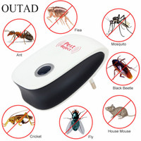 Wholesale Electronic Repeller Insects - Newest Enhanced Version Electronic Cat Ultrasonic Anti Mosquito Insect Pest Controler Mouse Cockroach Pest Repeller EU US Plug