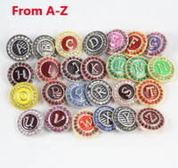 Wholesale sewing notions tools - Hot Europe 26 English Letter Carving Noosa Buttons Multicolor NOOSA Chunks Snap Button Jewelry Rhinestone Sewing Notions & Tools