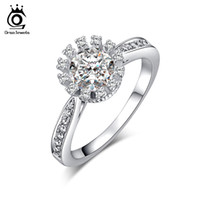 Wholesale Micro Invisible - Ladies Engagement Ring 0.9 ct Cubic Zirconia Invisible Setting Ring Micro CZ Stones Around White Gold Plated Jewelry OR33