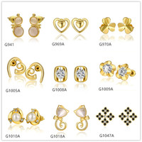 Wholesale Cheap Yellow Gold Earrings - Best gift 10 pairs mixed style women's gourd heart square crystal gemstone 18k yellow gold earring GTG58,cheap yellow gold stud earrings