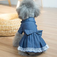 Wholesale Dog Denim Dresses - Denim Lace Skirt Pet Dog Dress Spring Autumn Cat Skirt Blue Cute Bowknot Small Puppy Chihuahua Small Puppy Apparels Clothing Supplies