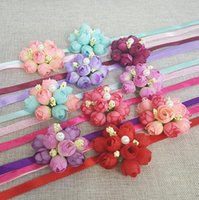 Wholesale Corsages For Bridesmaids - Colors Rose Wrist Corsage Bridesmaid Sisters hand flowers Artificial Bride Flowers For Wedding Party Decoration Bridal Prom HJIA525