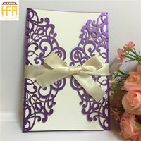Wholesale Invitation Wedding Card Design - 12.8*18.6Cm Invitation Card Embroidered Wedding Cards Festival Decoration Invitation Card Hollow Design Christmas Cards For Fancy Party