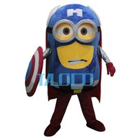 Wholesale Minions Fancy Dress Costume - Wholesale-Despicable me Minions Captain America Mascot Costume Fancy Dress Outfit Free Shipping