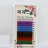 Wholesale Rainbow Lashes - Colorful False Eyelashes Brand Individual Eyelash Extensions Nature Long Eyelash 12rows tray Rainbow Color Lashes 5 Colors