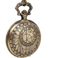 Wholesale Vintage Nacklace - New Vintage bronze big size compass quartz pocket watch nacklace Men's watches time pendant gift 10pcs lot