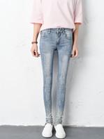 Wholesale Girl Rhinestone Pant - teenage girl skinny jeans legging autumn new arrival hot diamond ripped hole design 7sizes 2colors 815