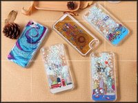 Wholesale Uk Iphone Case - 2016 new Liquid Moving Star Glitter Quicksand fashion USA UK city Dream Catcher Starry Sky Bling Phone Case Back Cover For iPhone 6 6S Plus