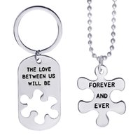 Wholesale Keyring Initials - Initial the love between us dog tag pendants necklace keychain for women men lovers best friend keyring jewelry 161520