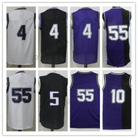 Wholesale Fox Clothing Men - Wholesale Throwback Basketball #55 Jersey Black Fox Purple Chirs Webber shirt Mike Bibby Uniforms Jason Williams Clothes (with player name)