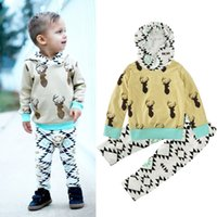 Wholesale Children Christmas Jumper Cotton - European Boy Christmas Clothing Sets Children Deer Print Hooded Jumper Sweater +Long Pants Two Piece Outfits