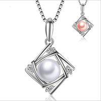 perlas cuadradas de agua dulce al por mayor-Joyería de señora 925 plata esterlina Collar de Pendnat perlas naturales de agua dulce Color blanco y rosa perla colgante cuadrado