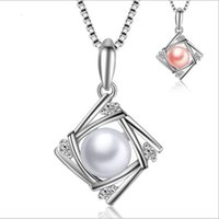 Wholesale Ladies Freshwater Pearl Necklace - Lady Jewelry 925 Sterling Silver Natural Freshwater Pearl Pendnat Necklace Pink and White Color Pearl Square Pendant