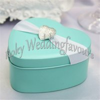 Wholesale Tin Boxes Party Favors - FREE SHIPPIN 100PCS Heart Shape Tiffany Blue Tin Boxes w  Charm Wedding Favors Holders Party Events Table Decor Supplies Ideas Candy Package
