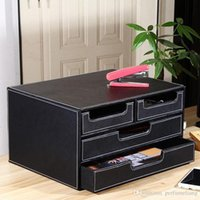 Wholesale Wood File Cabinets - 3-layer 4-drawer Wood Leather Desk Set Filing Cabinet Storage Box Office Organizer File Drawer Document Container