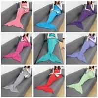 Wholesale Wholesale Women Bag Europe - Adult Mermaid Blankets 180*90cm Tail Fish Blankets Women Sleeping Bag Bedding Warm Soft Handmade Knitted Sofa Blanket OOA2882