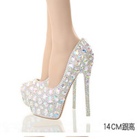Wholesale Sparkle Diamond Prom Dresses - AB Crystal Diamond Exquisite Wedding Shoes Sparkling Rhinestone Handcraft Bridal Shoes Thin Heel Evening Prom Party Women Pumps