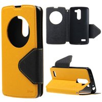 Wholesale Korea Flip Phone Case - Mobile Phone Accessories Parts Mobile Phone Bags Cases Roar Korea Hollowed Window Stand Diary Leather Case Cover for flip LG L Bello