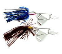 faldas de la moda de cola de pescado al por mayor-Topwater tractor moda señuelos pequeños peces Buzzbait falda cola spinner cebos cuchara Willow Leaf Metal Lure