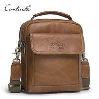 Wholesale Ipad Vintage - CONTACT'S Genuine Leather Shoulder Bags Fashion Men Messenger Bag Small ipad Male Tote Vintage New Crossbody Bags Men's Handbags