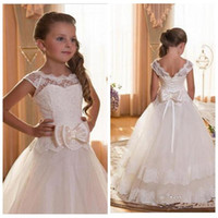 Wholesale Little Girls Backless Dress - Lace Bodice First Communion Dresses For Flowers Girls Scoop Backless Lace Appliques Ball Gown Pageant Dresses For Little Girls