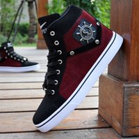 Wholesale Top Dance Sneakers - Free shipping new men's high-top shoes fashion casual sports shoes street dance shoes sneakers stitching canvas shoes
