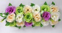 2pcs 18 cabeças Mixed Color Seda Artificial Rose Flower Arco Frame Em uma linha Decorativa Wedding Road Led Flower Wedding Props
