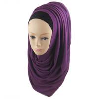 Wholesale Chiffon Scarves Blue Silver - Women plain chiffon scarf muslim silk hijab 180x70cm 32 colors color21-color30