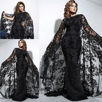 Wholesale Long Cloak Formal Dress - Saudi Arabic Black Evening Dresses Lace Cloak Style Mermaid Prom Dresses Satin Floor Length Applique Sequins Plus Size Formal Party Dresses