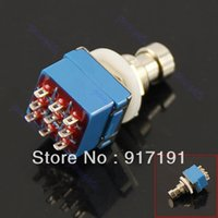 """Wholesale Stomp Foot Switch - Wholesale- J34 """" 5Pcs Lot 3PDT 9-Pin Stomp Foot Pedal Switch True Bypass Blue"""