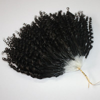 Wholesale Mirco Hair Extensions - Jerry Curly Micro Ring Hair Extensions 400s lot Kinky Curly Loop Hair Natural Color Mirco Loop Hair 14 16 18 20inches 0.5g strand Epacket