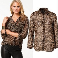 Wholesale Leopard Blouse Fashion - High Street Blusas Femininas 2016 Women Blouse Ladies Sexy Long Sleeve Leopard Print Chiffon Blouses Blusas Tops Shirt for Women