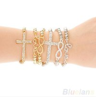 Wholesale Cross Infinity Love Stretch Bracelet - Wholesale-top quality 2016 new Hot Fashion Women's Crystal Rhinestone Cross Love Infinity Stretch Beaded bracelets & bangles Gift