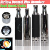 Wholesale Electronic Vaporizers - 2016 Airflow control Wax atomizer Replacement Dual Quartz Coils Herbal vaporizers Dry herb vaporizer pen electronic cigarettes skillet Tank