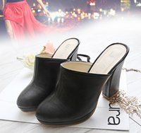 Venta al por mayor Freeshipping Lady Round Toe Lady Platform High Heel Slippers Forme a mujer los zuecos Lady Casual Sandals Black Size 35-40 B026