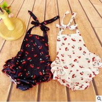 Wholesale Romper Hairband Set - Cute Baby Romper 2016 New Cherry Printed Ruffle Girls Jumpsuit Cute Toddler bodysuit Summer babies clothes Bowknot Hairband 2pcs Set 6169
