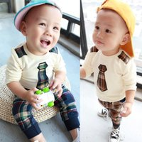 Wholesale New Boys Sets - Hot sale baby boy clothing set spring 2016 boy new casual fake tie long sleeve sweatshirts +plaid pants 6-24 months !