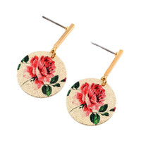 Barato Flor De Lótus Pinturas A Óleo-Cute Colorful 3D Circular lótus pinturas Stud Earrings Lovely Oil Slick Flower Earrings Jóias de moda para mulheres jl-463