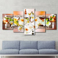 Wholesale textured oil paintings - 5pcs set Unframed Brown Pearl Orchid Flower Wall Art Oil Painting On Canvas Textured Abstract Paintings Pictures Decor Living Room Decor