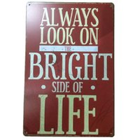Wholesale Painting Metal Siding - Always look on bright side of life Vintage retro tin metal sign Garage Bar Restaurant Coffee Cafe Shop Home Wall Decor