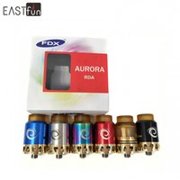 Wholesale Led Drip Tips - 100% Original Aurora RDA 24mm By FDX with LED Light Heat Sink Spring Posts and PEI 810 Drip Tip for 510 Vape Mods Electronic Cigarette RDA