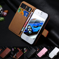 Wholesale Iphone5 Vintage Case - New Hot! Luxury Retro Real Genuine Leather Case for Apple iphone5 5S 5G Accessories Vintage Wallet Stand Flip Cover for iphone 5
