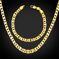 """Wholesale Mariner Gold Chain - New 18K Real Gold Plated Necklaces With """"18K"""" Stamp 2 Sizes Mariner Chain Necklace New Trendy Men Jewelry N140"""