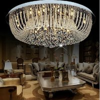 Wholesale crystal chrome ceiling lights - Luxury ceiling light for living room crystal chrome ceiling crystal lamp led remote control ceiling round lighting lamps