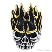 Aço Inoxidável Angry Flame Skull Skeleton Biker Ring Vintage Black Gold Silver Titanium Steel Rings Men Fashion Personalized Ring Jewelry